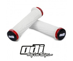 Gripy- ODI Grips Troy Lee Designs Signature ATV Lock-on Bonus pack White w/Red Clamps
